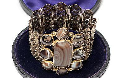 Stunning Antique Georgian Agate Cuff Gold Bracelet