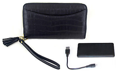 Power Pochette Leather Wallet with RFID and Built In 3000mAh Power Bank Black