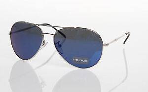 POLICE S8157C 579B BLUE SHINY SILVER METAL AVIATOR STYLE SUNGLASSES - 8157