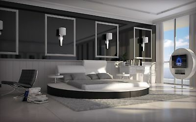 Bett NAPOLI Design Rundbett mit Ablagetischen Polsterbett Ehebett Doppelbett