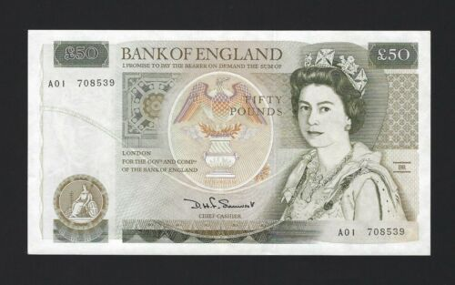 "Great Britain 50 Pounds ENGLAND 1981, ""A01"" Somerset, P-381 B352, Pack Fresh UNC"