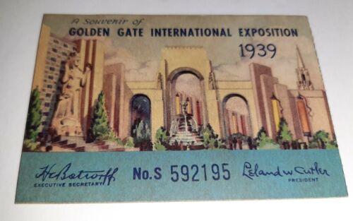 Original 1939 Golden Gate International Exposition Admission Ticket SanFransisco