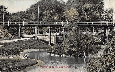 Johnson Creek Wisconsin~Two Bridges Criss Cross One Another~1909 (Johnson Creek)