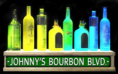 24 Personalized Street Sign Shot Glass Lighted Liquor Bottle Display Shelf