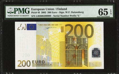 EUROPEAN UNION, FINLAND 2002 200 EURO. SIGN. W. DUISENBERG. PMG-65EPQ. PICK-6L.