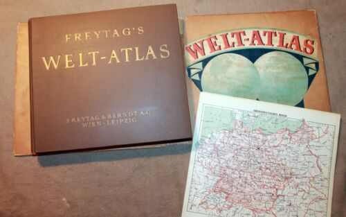 FREYTAG & BERNDT WELT ATLAS WORLD w/ German Occupation Map 1939 DJ world war 2