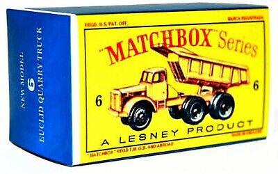 Matchbox Lesney No 6 EUCLID 6 WHEEL QUARRY TRUCK empty Repro style D Box