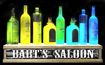 2 Lighted Personalized Saloon Shot Glass Lighted Liquor Bottle Display