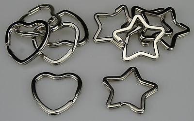 10 Schlüsselringe silber je 5 Schlüssel Ring Herz und Stern im Set ID-0035