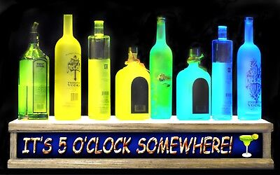 Remote Control Lighted Liquor Bottle Display Its 5oclock Somewhere Bar Sign