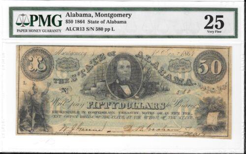 ALCR13 1864 $50 State of Alabama Montgomery S/N 580 PMG 25