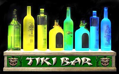 2 Tiki Bar Illuminated Liquor Bottle Display Shelf Or Glassware Display Box