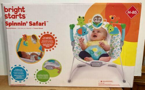 BRIGHT STARTS Spinnin' Safari Vibrating Baby Bouncer H-85 Spinning NEW IN BOX