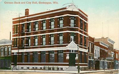Sheboygan Wisconsin German Bank And City Hall Enterprise 1910 Postcard