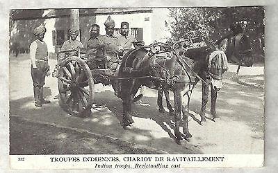14-18 : TROUPES INDIENNES, chariot de ravitaillement 1915 / Inde, Pont-de-Roide