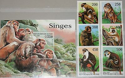 GUINEA 1998 1952 57 BLOCK 542 APES MONKEY AFFEN ALLER WELT FAUNA ANIMALS TIERE