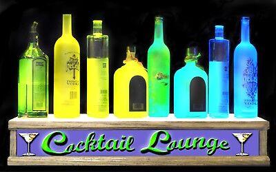 24 Cocktail Lounge Bar Sign Shot Glass Lighted Liquor Bottle Display