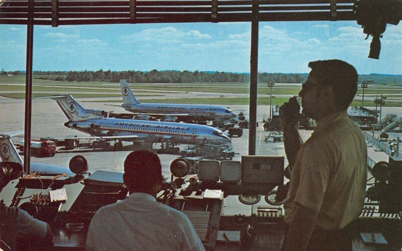 Cincinnati Ohio 1960s Postcard Greater Cincinnati Airport Control Tower Jets