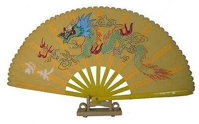 """""""13"""""""" Dragon Design Kong Fu Fan (Yellow)"""""""