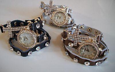 Double Wrap Around Bracelet - Crystal Lady Cross Wrap Around Double Strap Bracelet Long Band Quartz Watch