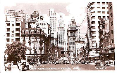 Brazil Brasil Sao Paulo Avenida Sao Joao 1958 airmail cover real photo postcard