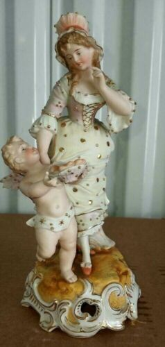 "Antique German Style Porcelain Figurine, ""Cupid offers hearts"", 8"" H."