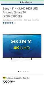"""Sony 43"""" 4K UHD HDR LED Android Smart TV"""