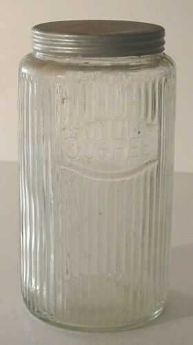 "Vintage Large Hoosier Kitchen Cabinet ""Coffee"" Thin Ribbed Canister Jar/Lid #1"