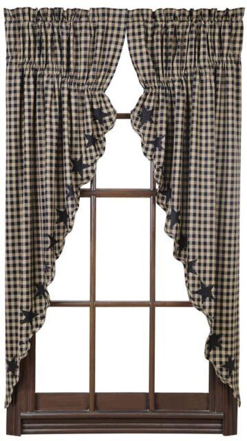 Country Black Tan Star Prairie Swag Window Curtains 72x63 Check ...