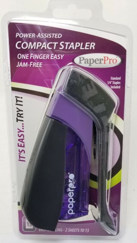 Paperpro Spring-powered Assisted Compact Stapler 15 Sheets Capacity PURPLE