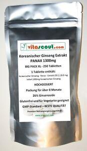 250 Vegi-Tabletten Koreanischer Ginseng - PANAX Extrakt je 1300mg - PN: 010257