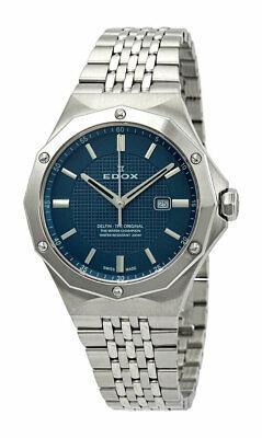 Edox Delfin Stainless Steel Womens Watch Calendar Blue Dial Quartz 54004-3M-BUIN