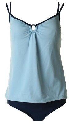 Mainstream Swimsuit Sizes 10 12 14 $78 Tankini Set Blue O-Ring Full Coverage
