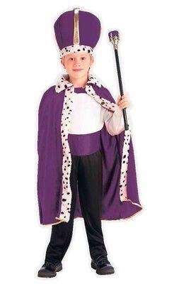 Child Purple King Robe & Crown Queen Costume Royal Cape Boy's Girls Wiseman - Kings Robe Fur