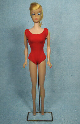 1VINTAGE Lemon Blonde Swirl PONYTAIL BARBIE DOLL w Original Red Helenca SWIMSUIT