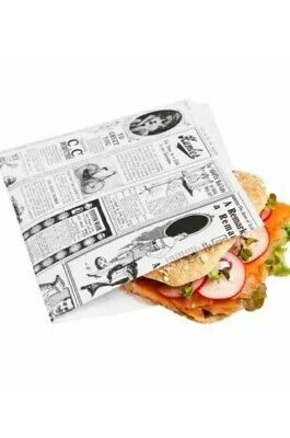 Deli Supplies 250 Greaseproof Paper Bags  White Food Bag Burger🍔Kebab 16.5x16cm