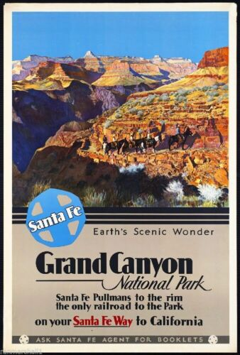 1930s Grand Canyon National Park Travel Ad Art Print Poster