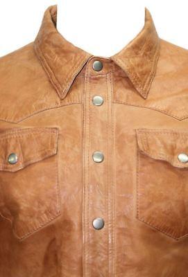 Men's Genuine Lambskin Leather Shirt Jacket Basic Vintage Jacket Biker Slim Fit