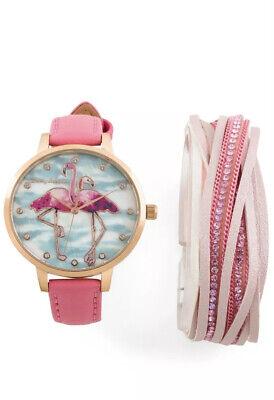 NWT Women's Tommy Bahama Flamingo Watch & Matching Bracelet Set 268974 MSRP $79