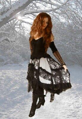 Dark Dreams Gothic Burlesque Steampunk Ruffle-Skirt Rock Ginger weiß white - Weißes Burlesque Kostüm