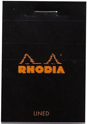 Rhodia Staplebound - Mini Notepad - Lined - Black - 2 X 3 Inch 80 Sheets - New
