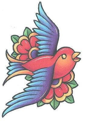 BIRD COLORFUL WITH FLOWERS Temporary Tattoo