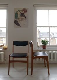 Comfortable Mid-century leather and wood chairs