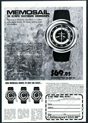 1973 Memosail Swiss watch yacht timer photo Chronosport vintage print ad, used for sale  Shipping to Ireland