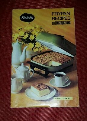 Vintage 1972 Sunbeam FRYPAN Recipes Instruction Manual Guide Cookbook pb
