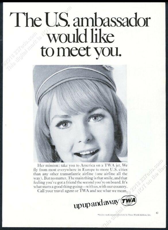 1968 TWA airlines beautiful stewardess photo vintage print ad