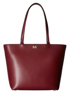 NWT Michael Kors Mott Medium Leather Tote Bag Mulberry Burgundy Red $268