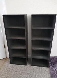 2 brown leather effect dvd storage units