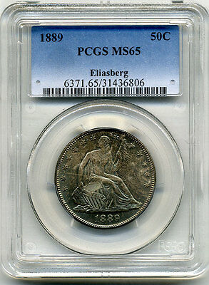 Click now to see the BUY IT NOW Price! ELIASBERG COLLECTION 1889 SEATED HALF WITH MOTTO PCGS MS65