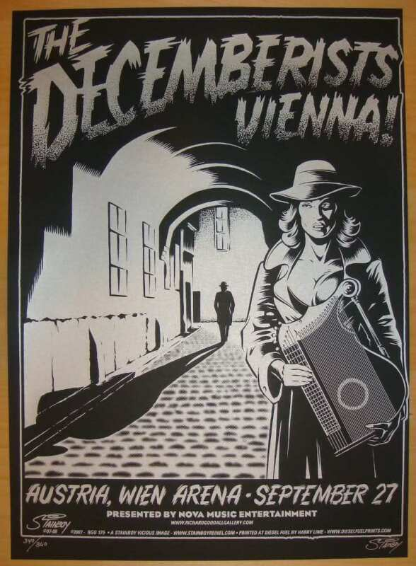 2007 The Decemberists - Vienna Silkscreen Concert Poster s/n by Stainboy